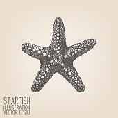 Vintage sea stars illustration isolated on retro background