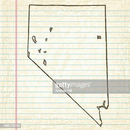 Vector Sketchy Map On Old Lined Paper Background Wyoming Vector