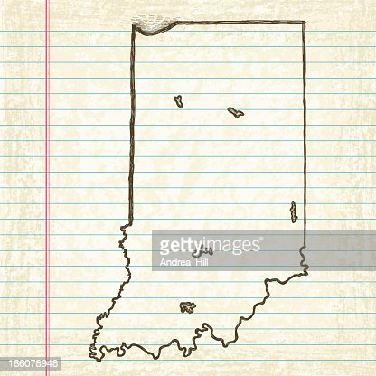Vector Sketchy Map On Old Lined Paper Background Missouri Vector