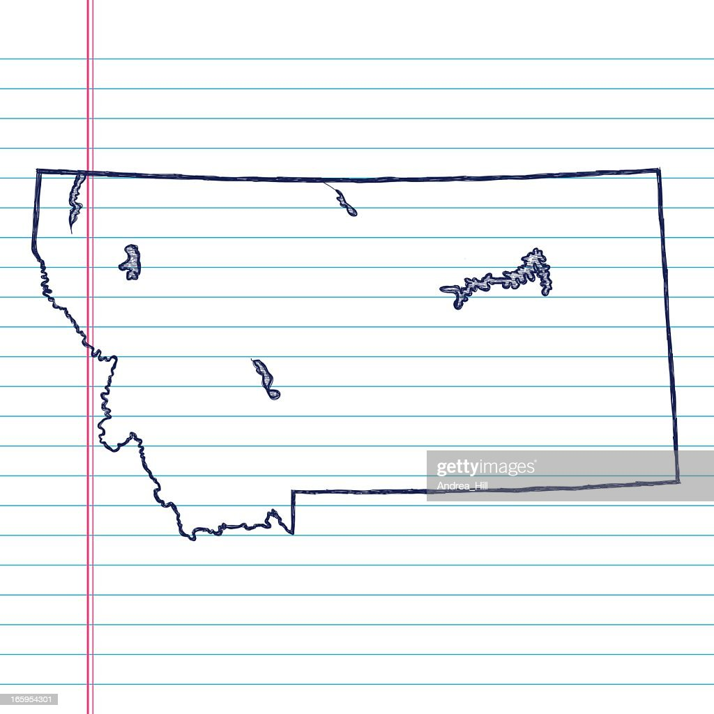 Vector Sketchy Map On White Lined Paper Background Illinois Vector