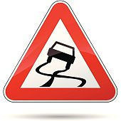 Vector illustration of triangle traffic sign for slippery road