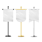 Blank White Flags Pocket Table Vector. Realistic Template Set For Business Promotion And Advertising