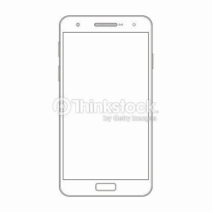 Vector Smartphone Outline Template Phone Icon Vector Art | Thinkstock