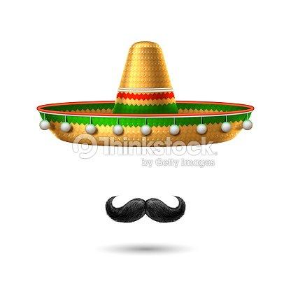 Mayo de de vector sombrero sombrero mexicano bigote cinco   Arte vectorial b45d30646b4