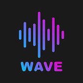 Vector sound wave. Logotype of sound and music wave