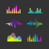 Vector Sound Waves Equalizer Set. Audio Player Concept. Colorful Ui Ux Music Interface Elements.