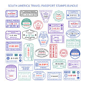 Vector South America colour travel visa stamps set