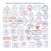 Vector south eastern asia color travel visa stamps bundle