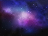Space background with colorful nebula and bright stars. Vector illustration.