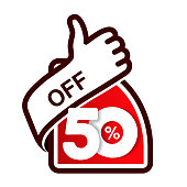 Vector special sale offer. Red tag with best choice. Discount offer price label with hand gesture. Sticker of 50% off.- illustration