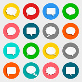 White speech bubbles icon set. Vector illustration.