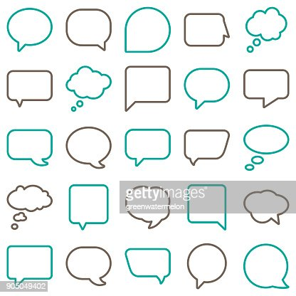 Vector Speech Bubbles Line Color : Vector Art