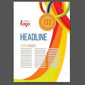 Vector Sport Awards Bronze Medal at the background of wavy lines intertwined. Sport symbol of victory, text logo separately, isolate on white.Bronze medallion. Concept brochure, page, leaflet charter.