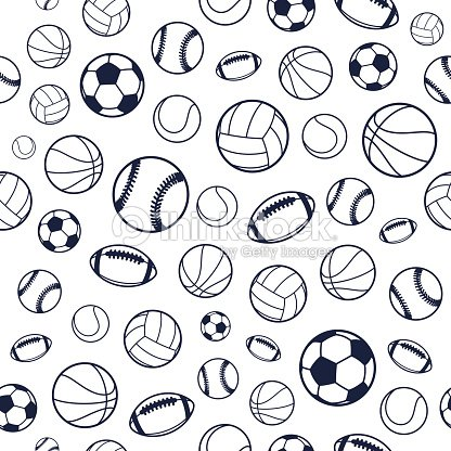 Vector Sports Balls Black And White Seamless Background Equipment Pattern Art