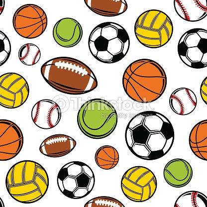 Vector Sports Balls Seamless Background Equipment Pattern Art
