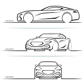 Vector sports car silhouettes