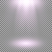 Vector spotlight, light effects. isolated on transparent background, purple color