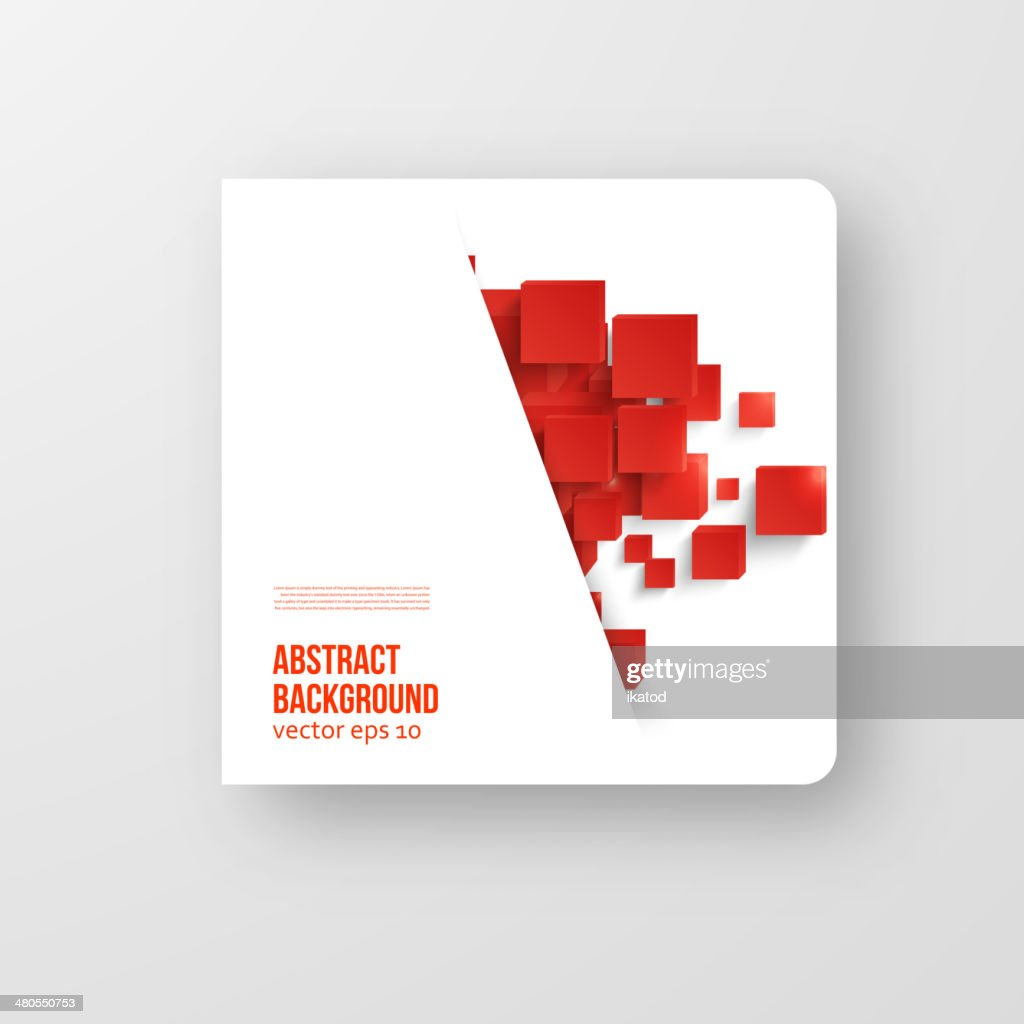 Vector  square. Abstract background card red. : Vector Art