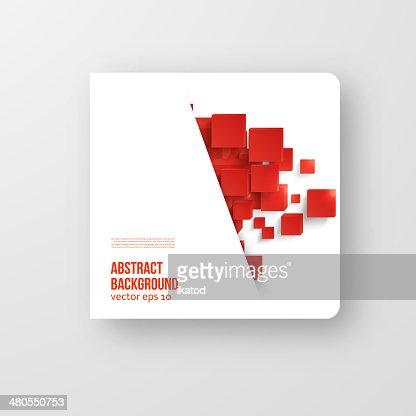 Vector quadrado.  Fundo abstrato cartão vermelho. : Arte vetorial