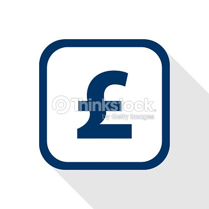 Vector Square Dark Blue Icon Pound Symbol Of British Currency In