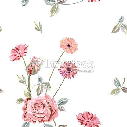 Vector Patron Cuadrado Floral Transparente Con Rosa Gerbera Daisy