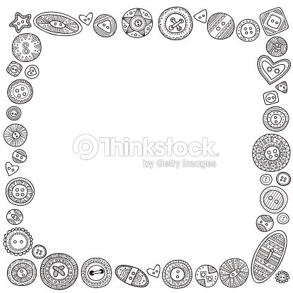 Vector Square Frame With Cloth Buttons In Boho Style Vector Art ...