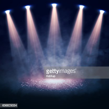 Vector Stage illuminated by spotlights. Interior shined with a projector : stock vector