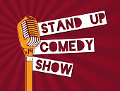 Vector stand up comedy microphone illustration on sunburst background. Stand up banner with microphone