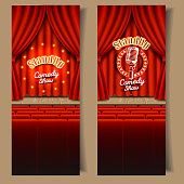 Stand-up comedy show banner template set. Vector realistic illustration of empty theater stage with red curtains, chairs for audience and microphone. Live show event backgrounds.