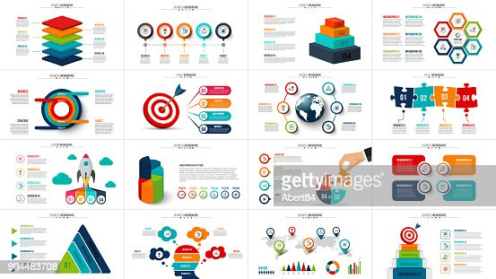 Vector startup infographics, diagram chart, graph and presentation. Business report with 4, 5, 6 and 7 options, parts, steps processes. Puzzle, circles, target, pyramid, map and timeline. : Vector Art