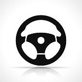Vector illustration of steering wheel black icon