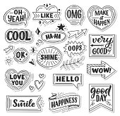 Quotes and sound blasts stickers. Vector sketch doodle icons, ribbons or arrows and banners or chat messages for Yeah, smile or hello and happiness greeting card or Wow and Oops with Like heart and Ok