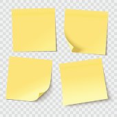 yellow sticky notes, vector illustration