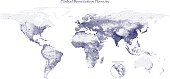 Vector stippled map of global population density on a white background.