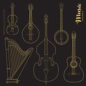 Violin, Contrabass, mandolin, guitar, banjo and harp illustration set. Music instruments series.