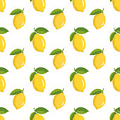 Vector summer pattern with lemons. Seamless texture design.