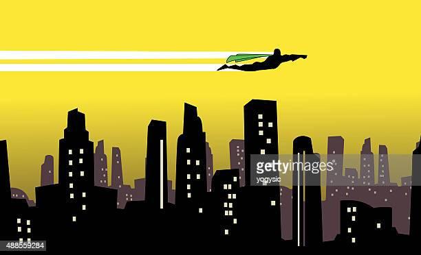 Vector Superhero flies over a city silhouette