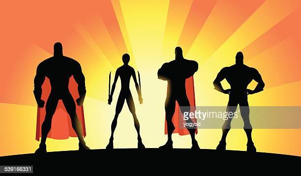 Vector Superhero Team Silhouette Set