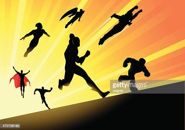 Vector Superheroes Team Charging Forward
