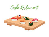 Vector sushi set on wooden tray for japanese restaurant. Temaki, caviar and salmon sushi on table. Traditional oriental food. Gourmet object, illustration for menu.