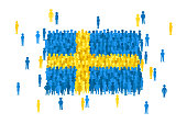 Vector Sweden state flag formed by crowd of cartoon people