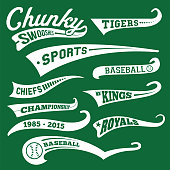 Vector Swooshes, Swishes, Whooshes, and Swashes for Typography on Retro / Vintage Baseball Tail Tee shirt