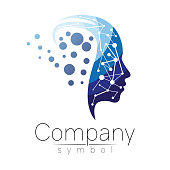 Vector symbol of human head. Profile face. Blue color isolated on white background. Concept sign for business, science, psychology, medicine. Creative sign design Man silhouette. Modern icon.