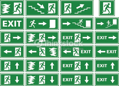 Vector Symbol Set Emergency Exit Sign Fire Alarm Plate Vector Art