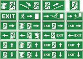 A collection of different variations of emergency exit signs / plates showing white silhouettes on green background. Various illustrations of a person or man running toward an exit door of a building