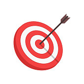 Target with arrow in modern flat style isolated on white background. Goal achieve or Business success concept. Vector illustration. EPS 10.