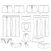 Various templates for bottoms style clothing