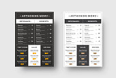 Vector template menu for cafes and restaurants blocks for the menu. Black and white design with thin lines. Set