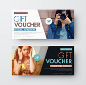 Vector Template of a gift black and white voucher with diagonal lines and a place for a photo. Universal card design for advertising business, photographers, stores. Blurred image for the sample.