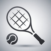 Vector tennis racket and tennis ball icon on a gray background with shadow